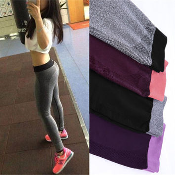 Women Sexy Sports Cropped Pants Elastic Wicking Force Exercise Female Sports Elastic Fitness Running Trousers Slim Leggings
