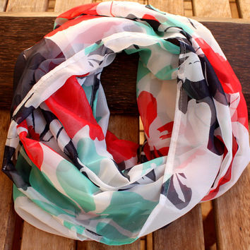 Spring Scarf White Mint Red Flower Scarf Floral Multicolor Infinity Scarf Fashion Women Loop Circle Scarf Chiffon Scarf