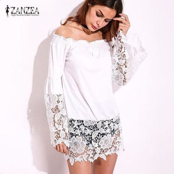 ONETOW 2017 ZANZEA Women Autumn Slash Neck Off Shoulder Lace Crochet Splice Bell Sleeve Summer Party Blouse Tops Shirt Blusas Plus Size