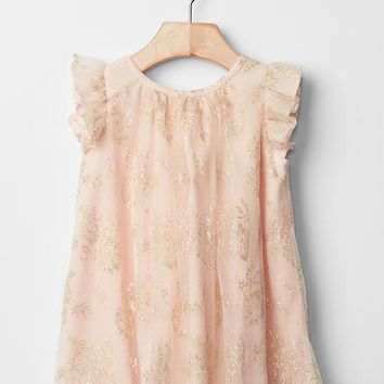 Gap Metallic Lace Flutter Dress