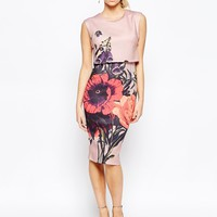 Hope and Ivy 2 in 1 Pencil Dress with Placement Floral