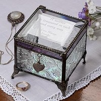 Personalized Vintage Glass Jewelry Box With Custom Poem