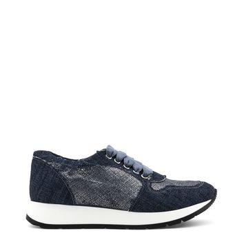 Ana Lublin Blue Round Toe Leather Sneakers