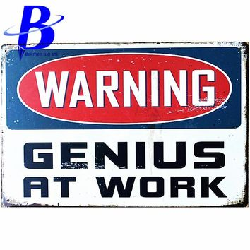 Placas Cerveza WARNING At Work Letters Vintage Metal Signs Garage Coffee Store Bar Metal Home Decoration Crafts Metal Plate Sign