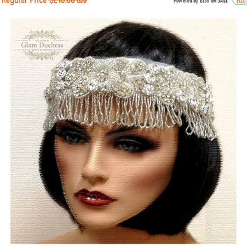 Bridal headband, rhinestone headband, Crystal headband, The great Gatsby hair jewelry- vintage inspired headband, 1920's jewelry