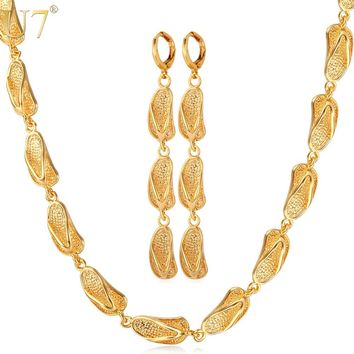 U7 Dubai Gold Color Jewelry Set New Fashion Jewelry Cute Sandals Earrings Necklace Set For Women Gift S657
