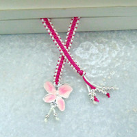 Macrame Knotted Bookmark with silver plated enamel flower charm and colored Beads, bookmarker gift