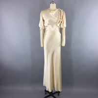Vintage 1930s Wedding Dress / Ivory Champagne Silk Satin Bridal Gown – ThisBlueBird - Modern Vintage