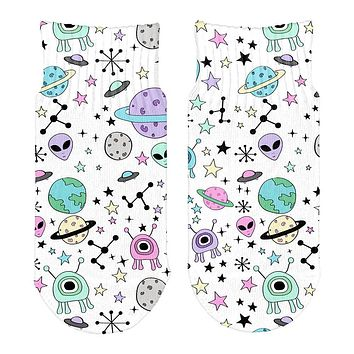 Outer Space Aliens Pattern All Over Toddler Ankle Socks