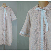 Frilly & Feminine Vintage 1960s Blue Lace on Ivory Robe with Satin Ribbon - fits 42 inch bust XL
