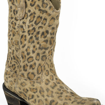 Roper Ladies Fashion Snip Toe Boots Snip Toe With Allover Leopard Suede