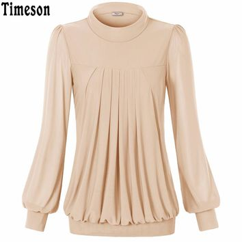 New Arrival Turtleneck Blouse Shirt Women Soft Elastic Lantern Long Sleeve Chemise Autumn Casual Ladies Tops
