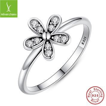 925 Sterling Silver Dazzling Daisy Meadow Stackable Ring With AAA Clear CZ For Women C