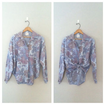 Vintage floral button up /Vintage cotton floral shirt / floral denim shirt