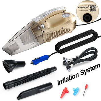 Car Vacuum Cleaner,HUANZHAN Powerful Suction Wet/Dry Portable Handheld Auto Vacuum Cleaner , 100W DC 12v , with Floodlight, Tire Pressure Monitor and Pump,Gold (Update Version)