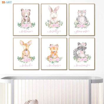 Minimalist Canvas Painting Baby Animal Poster Blush Pink and Gray Painting Wall Art Woodland Girl's room Nursery Decor
