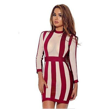 Autumn Woman Clothing Woman Dress Bandage Bodycon Slim Long Sleeve Vertical stripe Casual New Red Party Pencil Skinny Mini Dress