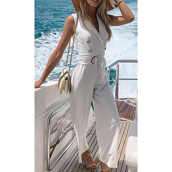 Hear The Waves Sleeveless V Neck Collar Button Belted Wide Leg Loose Jumpsuit - 3 Colors Available