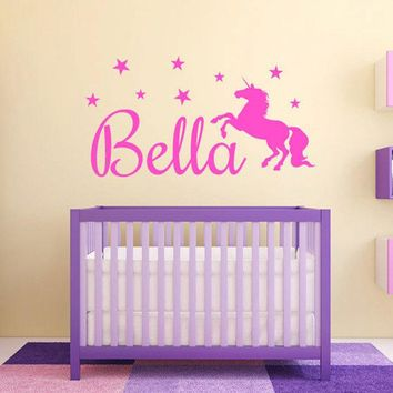 Personalized Girls Unicorn Name Monogram Wall Decal Graphic Vinyl Sticker Home Bedroom Wall Decor Baby Nursery Wall Art A919