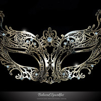 Liana Bronze Metal Lace Masquerade Mask | Metal