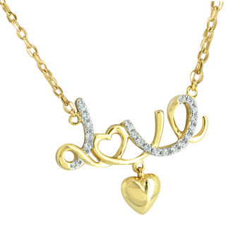 Love Heart Pendant Necklace 14k Gold Finish