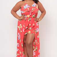 Plus Size Floral Whirlwind Romper- Red