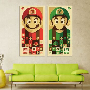 Unframed Mario Bros Canvas Painting Wall Art Cartoon Canvas Print Home Decor Oil Picture Wall Painting for Living Room 2 Pieces