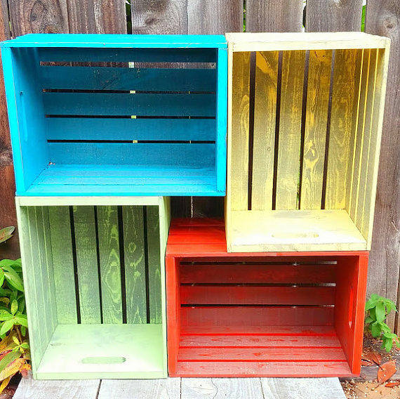 mellow yellow rustic wood crate painted from
