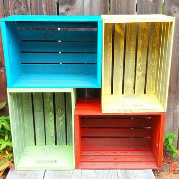 Mellow Yellow Rustic Wood Crate, Painted Shabby Chic Storage / Organization