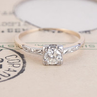 1940's .40ct Solitaire with Scrolling Shoulders | Erica Weiner