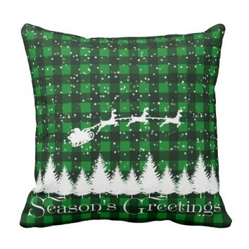 Santa's Christmas Sleigh Green Pillow