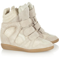 Isabel Marant | Bekkett suede and leather high-top wedge sneakers  | NET-A-PORTER.COM