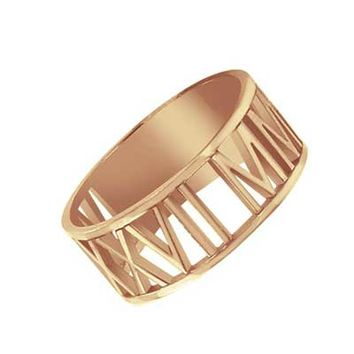 Roman Numeral Date Ring in Sterling Silver with 14K Rose Gold Plate (4 Digits)