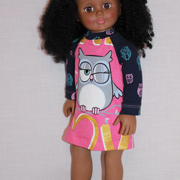 18 inch doll clothes, pink sleepy owl nightdress,blinking owl nightshirt, pajamas,  handknit slippers, Upbeat Petites