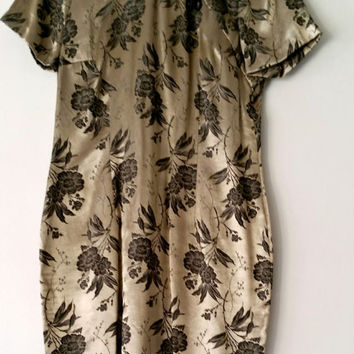 Molly Malloy Vintage Short Sleeve Gold Asian Geisha Style Dress Midi Size 10