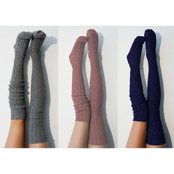 3pk Marled Cable Thigh High Socks, Multi Pack Charcoal, Marsala, and Marine Navy