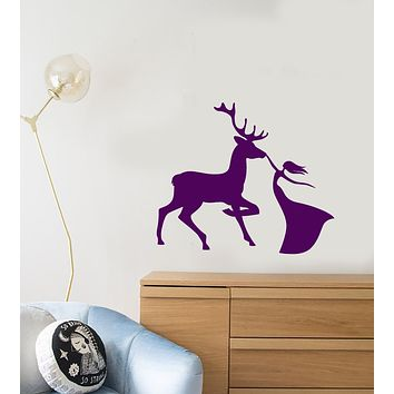 Vinyl Wall Decal Forest Deer And Girl Princess's Room Animal Stickers (3543ig)