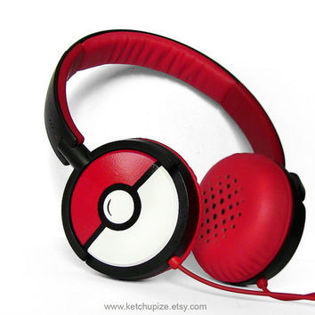 NEW Pokephones Headphones earphones white red hand by ketchupize