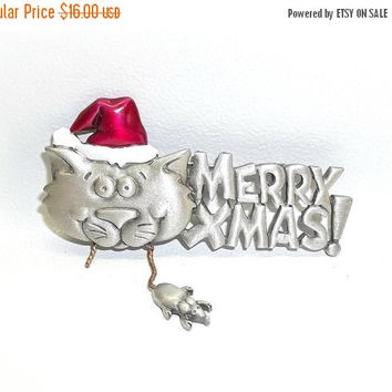 Merry Christmas Cat and Mouse JJ pin Jonette brooch nos vintage jewelry pewter enamel Xmas