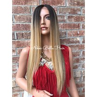 """Vanessa Mixed Carmel Blond Straight 22"""" Lace Front Wig"""