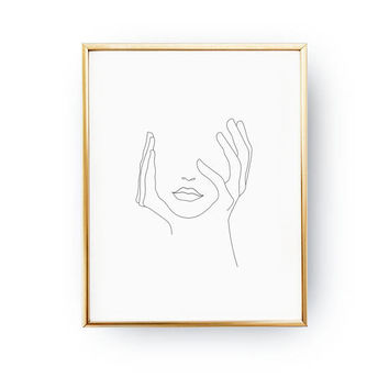 Hands On Face, Lips Print, Black And White, Sketch Art, Line Drawing Print, Minimalist Woman Print, Minimal Art, Simple Fashion, Woman Art