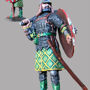 Medieval Action Figurine 1/32 Scale Mongolian Warrior Hand Painted Toy Soldiers 54mm Tin Metal Miniature Antique  - Free Shipping