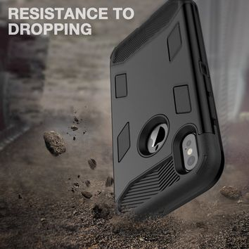 iPhone X Case, WeLoveCase [SUPER ARMOR SERIES] Heavy Duty Shock Absorption Military-Grade Rugged Hybrid Protective Case Anti-Scratch Non-slip Grip Protection Cover for iPhone X - Black