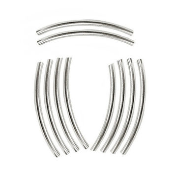 50x3mm Curved Tubes Silver Plated Brass 10 Pieces  M100