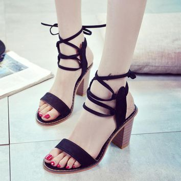 Summer Fashion Crisscross Bandage Straps Sandals Roman Women Thick Heel Heels Shoes-1