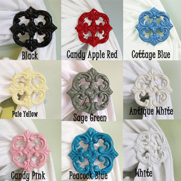 Curtain Tie Backs, Curtain Tiebacks, Curtain Holdbacks, set of 2, Cast Iron, Choose Your Color