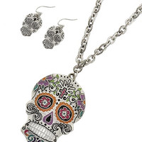 Rockabilly Punk Rock Gothic Cross Flower Sugar Skull Metal Long Chain Necklace
