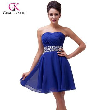 Sexy Grace Karin Red/Blue Beaded Short Prom Dresses Chiffon Cheap Crystal Cocktail Party Dress Homecoming Women Formal Gown 4792