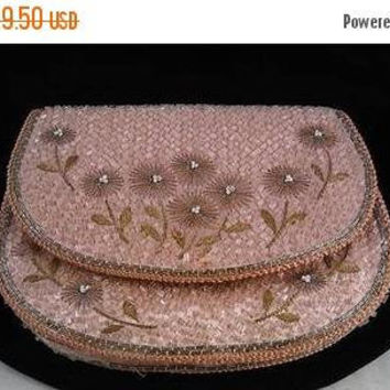 Now On Sale 1940's Pink & Silver Flowered Coin Purse* Beaded Antique Evening Bag * 1940's 1950's Collectible Purse * Vintage Gift For Her