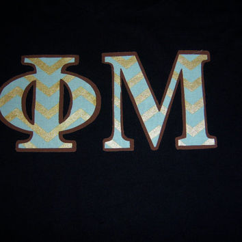 Phi Mu Sorority Stitch Shirt Greek Letter VNeck  Shirt Size Unisex Medium